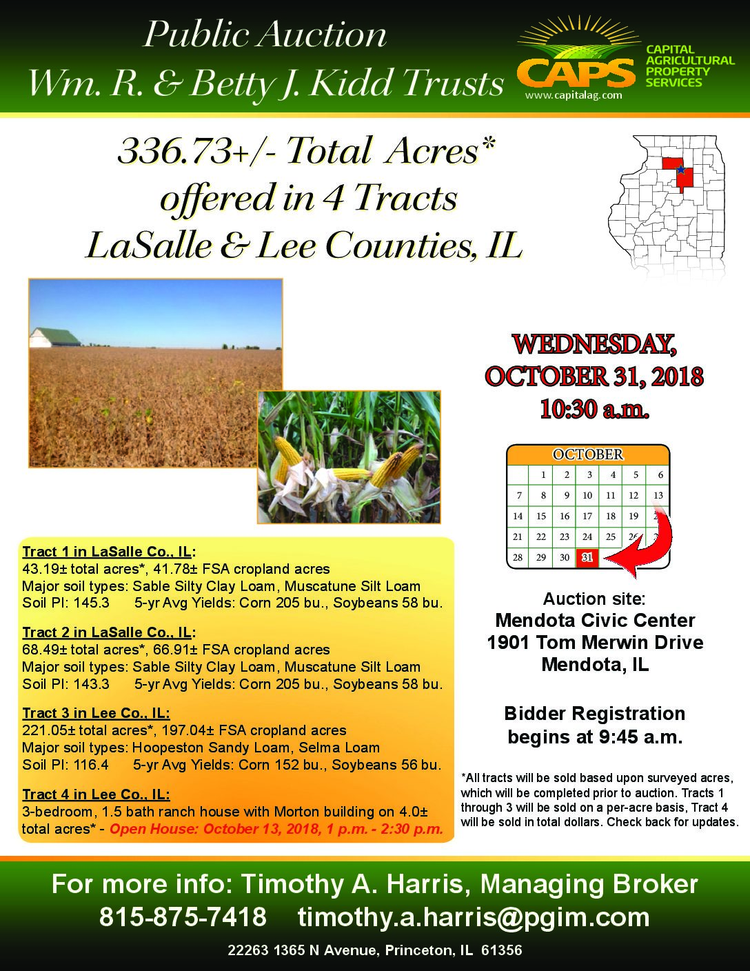Sold Kidd Trust Farms 334 10 Total Acres In 4 Tracts Lasalle Lee Co Il Farmland 1 3 Tract House Morton Building 5 Ac